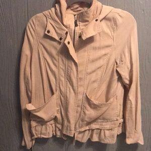 Tan utility hooded jacket